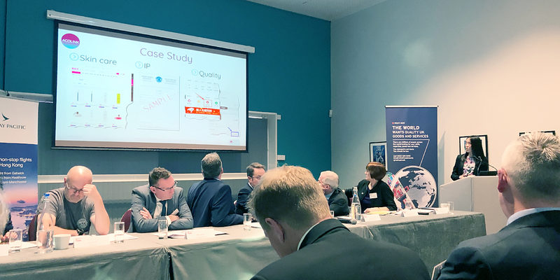Anita Zhang speaks about the New E-commerce Law in China at the China Bites seminar in Manchester, Feb 2019 / ©ACOLINK