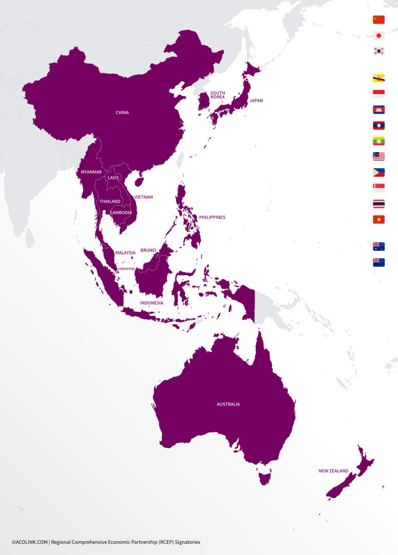 Regional Comprehensive Economic Partnership (RCEP) Member Countries – map of Asia-Pacific (©ACOLINK.COM)